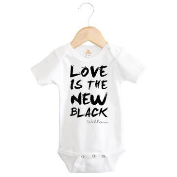 LOVE IS THE NEW BLACK personalised onesie