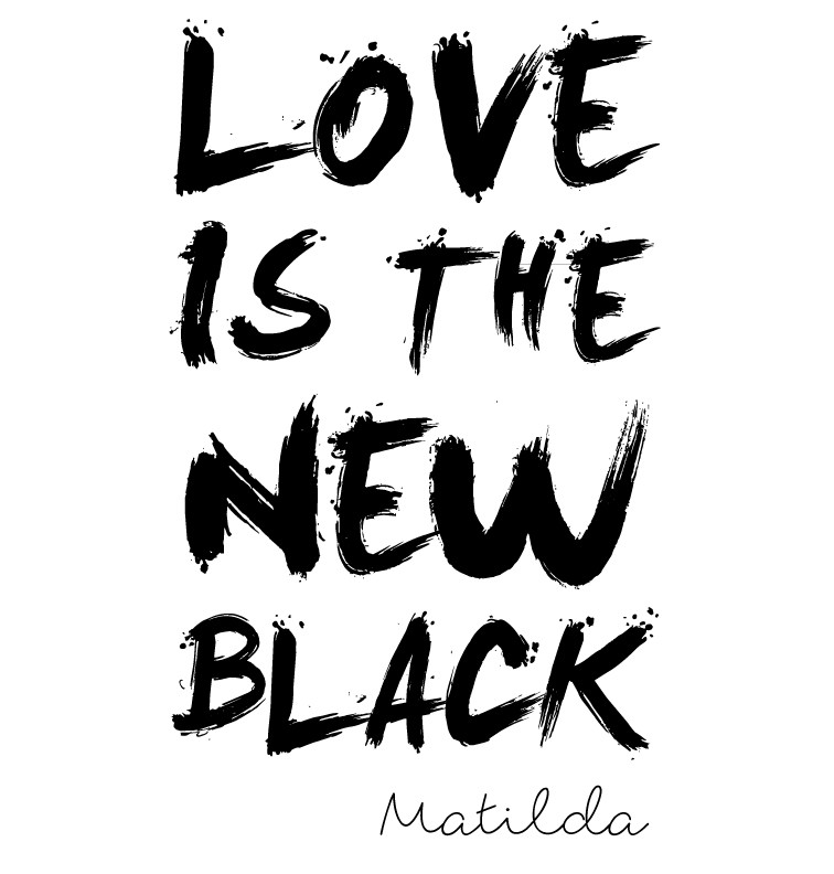 LOVE IS THE NEW BLACK personalised onesie - Matilda