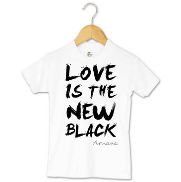 LOVE IS THE NEW BLACK personalised toddler tee