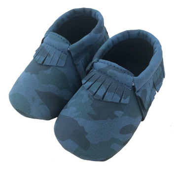 Camo Blue Baby Moccasins