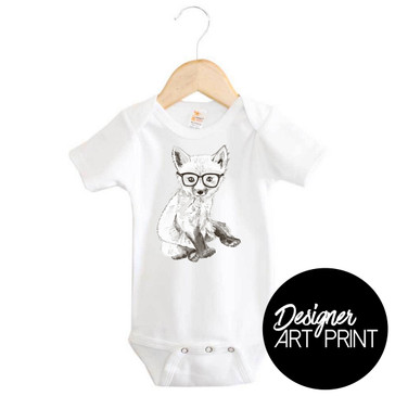 Frederick the Fox Short Sleeve Baby Onesie by Clare Spelta