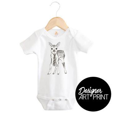 Dennis the Deer Short Sleeve Baby Onesie by Clare Spelta