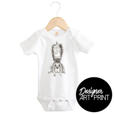Stevie the Squirrel Short Sleeve Baby Onesie by Clare Spelta