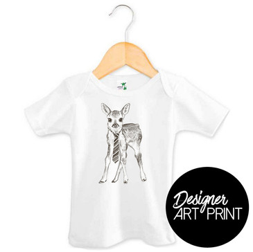 Dennis the Deer Baby T-shirt by Clare Spelta