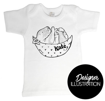 Dreamy Wombat Baby T-shrit by Karen Mitault