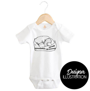 Sleepy Platypus Short Sleeve Onesie by Karen Mitault