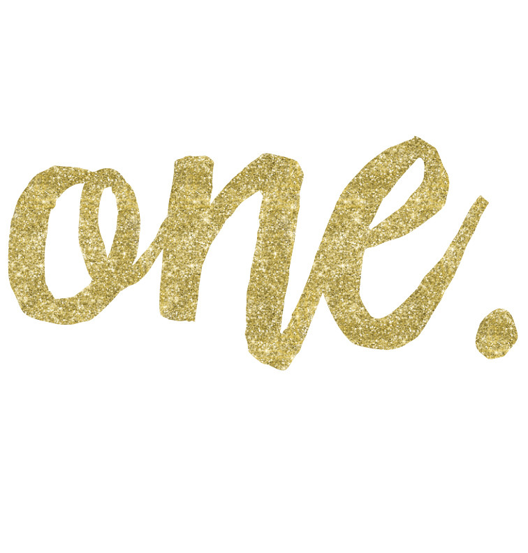Faux Gold Glitter First Birthday print - one.