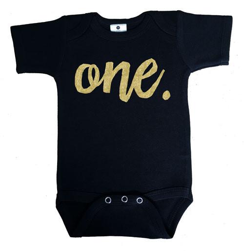 Faux Gold Glitter First Birthday Onesie - one.