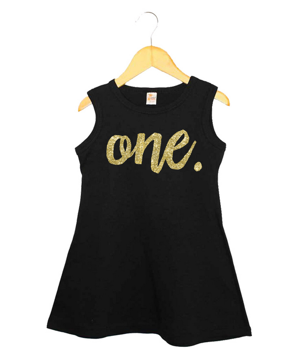 Faux Gold Glitter First Birthday dress - one.