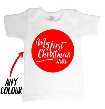Personalised Name and Colour My First Christmas Baby Tee