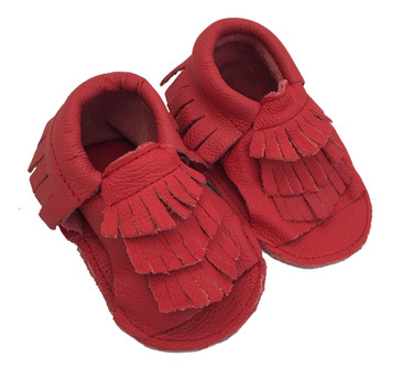 Ruby Red Moccasin Baby Sandals