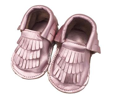 Pink Shimmer Moccasin Baby Sandals