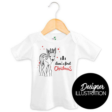 Personalised First Christmas Reindeer Baby Tee