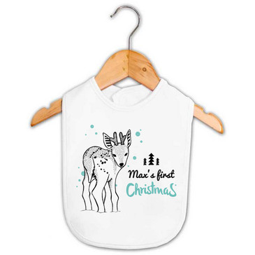 Personalised First Christmas Reindeer Bib