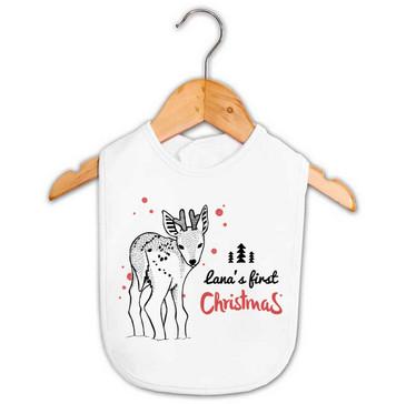 Personalised First Christmas Reindeer Bib