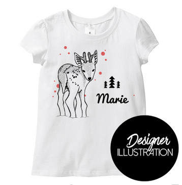 Personalised Name Reindeer Girl Tee
