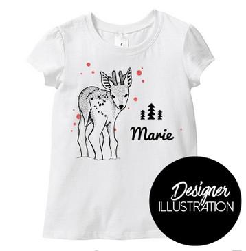 Personalised Name Reindeer Girl Tee