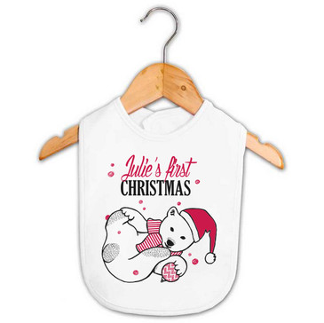 Personalised First Christmas Polar Bear Bib