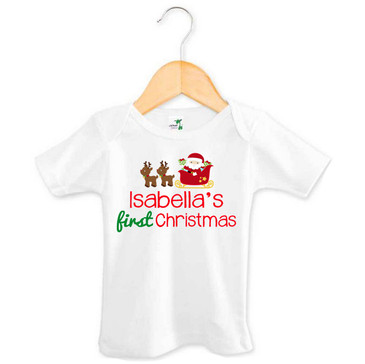 SALE Isabella's First Christmas baby tee - 3-6M