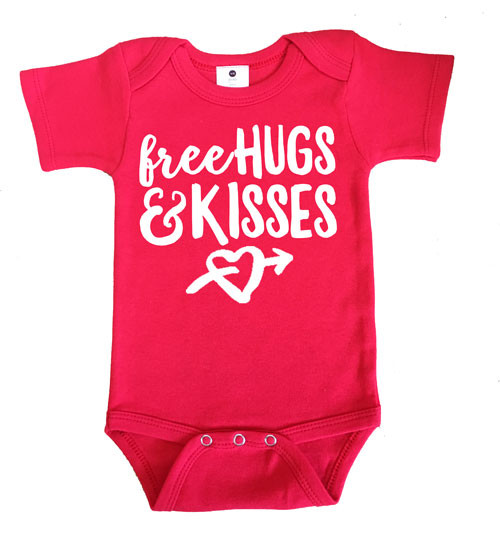 FREE HUGS AND KISSES red baby onesie
