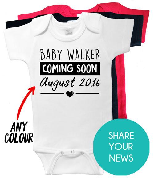 Custom Pregnancy Announcement Onesie Word On Baby