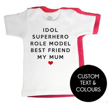 Custom print MY MUM list baby tee - white or red
