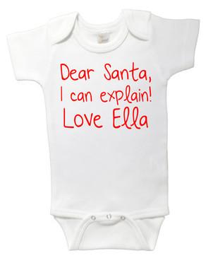 SALE Dear Santa Love Ella Onesie - 6-12M