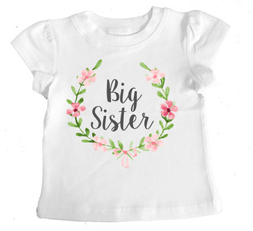 Big Sister Floral Wreath Girl Tee