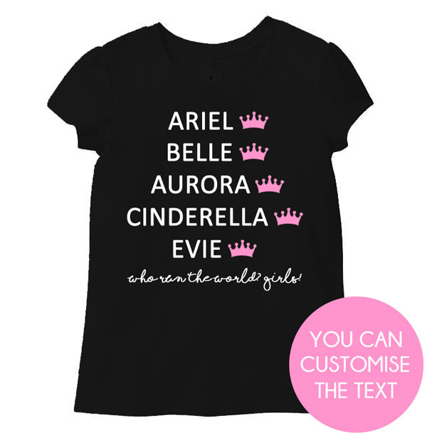 Disney Princess Names Personalised T-shirt black