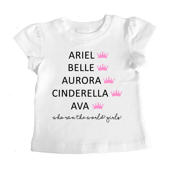 Disney Princess Names Personalised T-shirt white