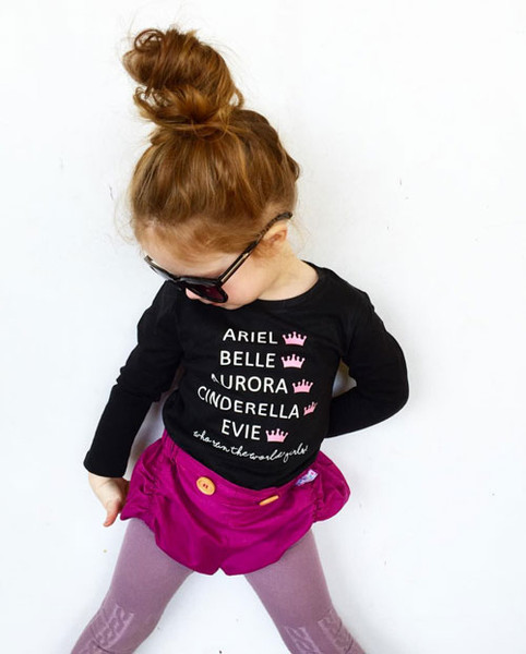 Evie from @sheloveslaughslives in her custom printed princess name tee