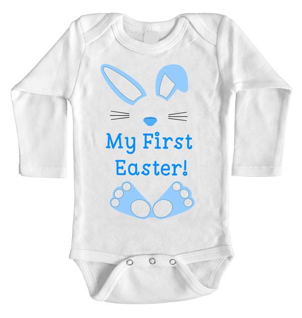 My First Easter Onesie Baby Boy Custom Printed Long