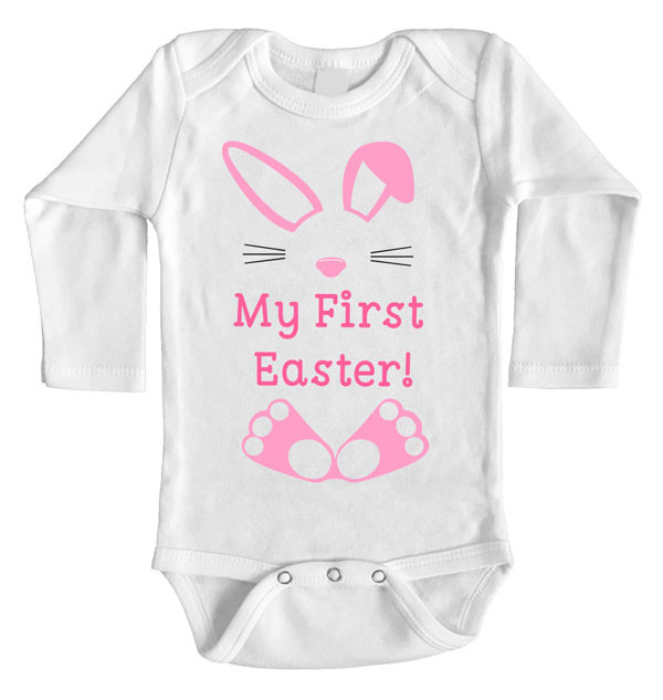 e652d6c0eaf8 My First Easter Onesie | Baby Girl Custom Printed Long Sleeve | Word ...