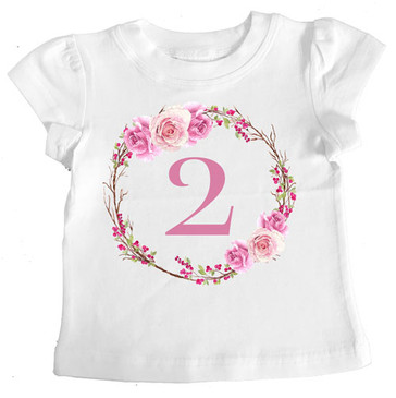 SALE 2 Romantic Roses Girl Tee - SIZE 2