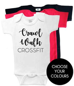 Crawl Walk Crossfit onesies