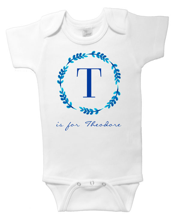 Blue Leaf Wreath Personalised Name Onesie with Initial