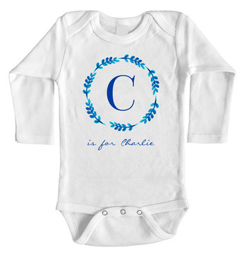 Blue Leaf Wreath Personalised Name Onesie with Initial long sleeves