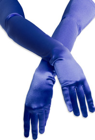 Satin Opera Gloves Royal Blue