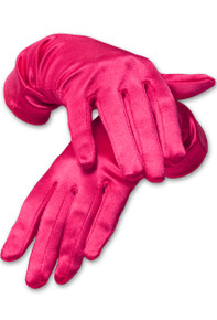 Satin Wrist Length Gloves Hot Pink