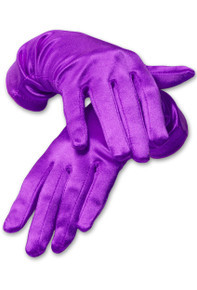 Satin Wrist Length Gloves Purple