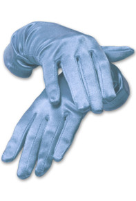 Satin Wrist Length Gloves Light Blue