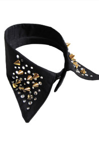 Black False Collar With Gold Rivet And Rhinestone