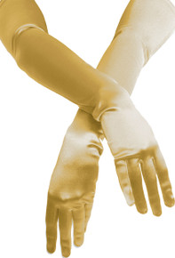 Satin Opera Gloves Gold