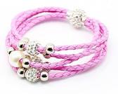 Leather Braided Pink Bracelet