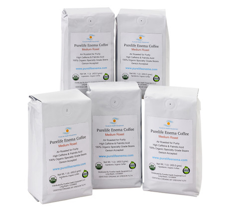 5 white bags enema coffee, medium air roasted, 100% organic