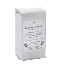 Purelife Organic Enema Coffee / 1 LB /Medium Air Roast / WHOLE BEAN /