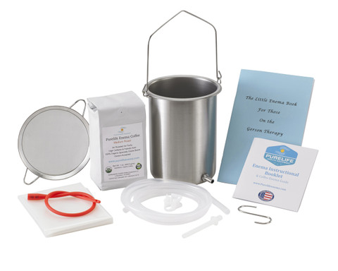 Coffee strainer with red ruber colon tube, enema bucket with silicone tubing, enema booklet, enema coffee, enema sheeting,  silicone enema nozzle, s hook