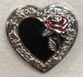 Black Heart with Red Rose Concho