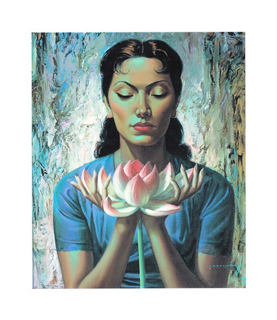 Tretchikoff 'Lady with Lotus' Art Canvas Print