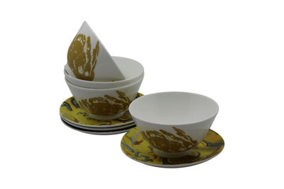 Set of 4 Tretchikoff 'Chinese Girl Protea' Bowls & Saucers